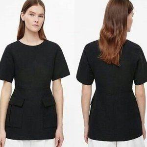 COS Black Crew Neck Linen Blend Tunic Pocket Top 6